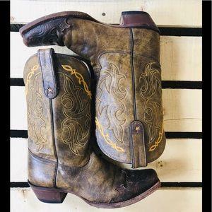 Tony Lama square toe tooled leather cowgirl boots